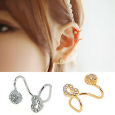 Wholesale 1 Pair Hollow Heart Round Crystal Plated Ear Clip Earring Jewelry Gift