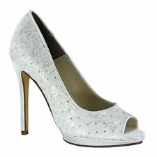 White Dyeable Classy by Touch Ups, Bridal Pump with Lace Overlay, Wedding Shoe