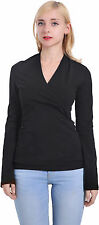 BLACK MARYCRAFTS WOMENS CASUAL V NECK LONG SLEEVE EMPIRE WAIST TOP BLOUSE