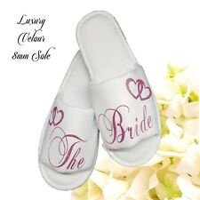 Personalised Bride Spa Slippers Wedding Guest Shoe  Pink & Heart Script