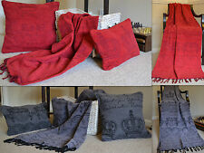 Throw Cushion Pillow Covers Sel de Mer Luxury Cotton Chenille Blanket Grey Red