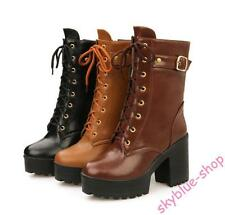 Womens Synthetic Leather Shoes High Heels Lace Up Ankle Boots Gothic Short Boots