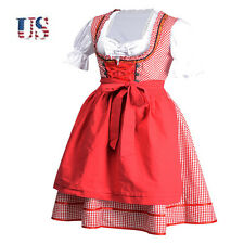 Hot US Cheers German Dirndl Oktoberfest Traditional Dress Xmas Costume Red S-XL