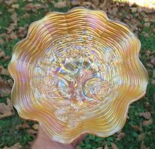 "NORTHWOOD  ""ROSE SHOW""  MARIGOLD CARNIVAL GLASS EIGHT RUFFLE BOWL"
