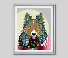 Rough Collie Print Dog Art Wall Decor Pop Poster Cute Dog Vintage Painting 8X10