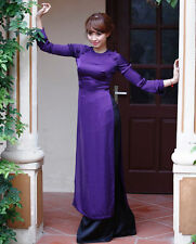 Peacock blue Vietnam Ao Dai, Custom Made Silk Dress, Satin Pant, Long Sleeves