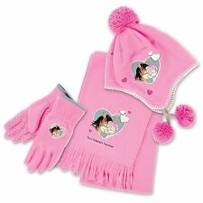Pink Kids Hat, Scarf and Glove Sets - Pink Fleece Cute Tatty Teddy Sets BN