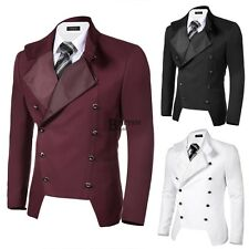 Men Casual Stand Neck pocket Double-breasted Slim Fit Blazer Jacket colorful