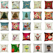 NEW Christmas Santa Elk Sofa Bed Linen Pillow Case Cushion Cover Home Decor Gift