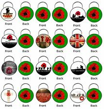 REMEMBRANCE DAY LEST WE FOGET POPPY 45mm Double Sided Keyring Gift WREATH  CROSS