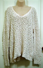 Free People ivory boucle Songbird sweater Large nubby plush texture cotton