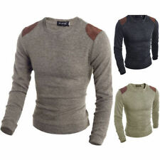 Mens Casual Slim Fit Crew Neck Knitted Cardigan Pullover Jumper Sweater Tops New