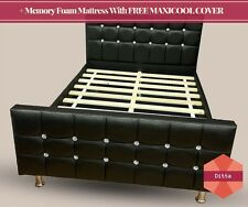 Black Leather Bed For Girls Bed 3FT Single With Memory Foam Mattress Diamond Bed