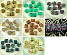 10pcs Rustic Picasso Czech Glass Flat Carved Rectangle Beads 12mm x 11mm