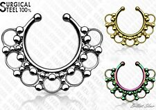 Septum Fake Clicker Nose Ring Nose Piercing Clip on Piercing 100% Surgical Steel