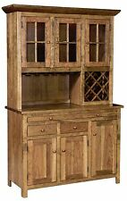 Amish Solid Wood Shaker Wine Hoosier Hutch China Cabinet Dining Room Furniture