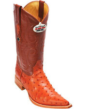 Men's Los Altos Genuine Full Quill Ostrich Boots 3x Toe Handmade Wide (EE)