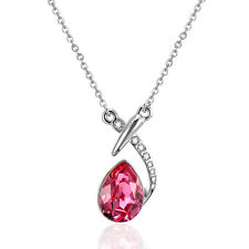 Fashion jewelry18K White Gold GP Swarovski Crystal unique Gem Pendant Necklace