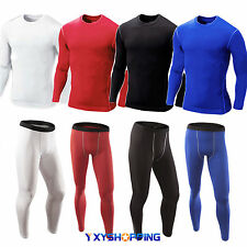 Mens Compression Armour Base Under Layer Top Long Sleeve Skins Shirts Pants Gym