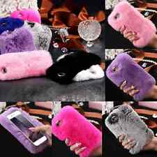Luxury Bling Crystal Furry Rabbit Fur Phone Case Cover for iPhone 6 6s 7 plus