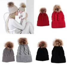 2 Pcs Winter Ski Cap Mother & Baby Child Hat New Infant Fur Pom Crochet Knit Hat