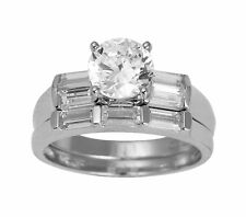 2.50 Ct 14K White Gold Round Cut Engagement Promise Ring Matching Band Duo Set