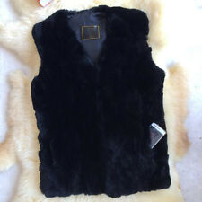 Casual Men's 100% Real Rabbit Fur Vest Gilet Jacket Coat Black Warm Garment