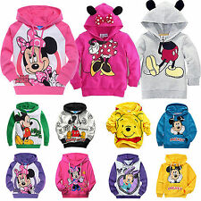 Boys Mickey Minnie Long Sleeve Hoodies Kids Girls Pullover Hoody Sweatshirt Coat