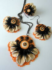 Handmade Stylish Floral Polymer Clay Pendant Necklace Earrings Ring Set OOAK