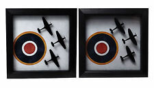 Spitfire / Hurricane Fighter Trio - Framed Roundel Picture WW2 Air Force RAF