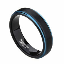 Black Tungsten Carbide Ring Wedding Band Two Tone Blue Step Edges Men's Ring