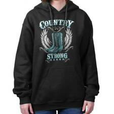 Country Strong Boots Wings Rodeo Western Cowgirl Gift Ideas Hoodie Sweatshirt