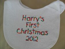 Personalised Baby Bib  vest babygrow my first christmas bold colours design