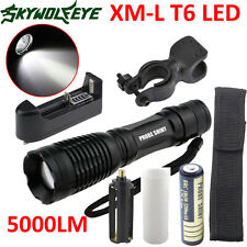 5000LM XML T6 LED Tactical Zoomable Flashlight Torch Light +18650 +Charger LOT