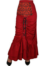 PLUS SIZE Victorian Punk GOTHIC Long Ruffled Lace Up Skirt RED Size 20 LAST ONES