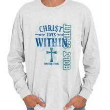 Christ Lives Within Christian T Shirts Jesus Christ Gift Ideas Long Sleeve Tee