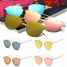 Womens Flat Lens Mirror Metal Frame Oversized Vintage Sports Cat Eye Sunglasses