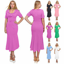WOMEN'S CASUAL EVENING VINTAGE 1960S DRESS BODYCON WIGGLE PENCIL MIDI DRESSES