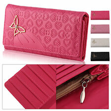 Lady Women butterfly PU Leather Long Purse Wallet Clutch Zip Bag Card Holder