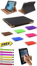 Genuine Soft Leather BLACK & TAN Smart Case Stand Cover for Apple iPad Models