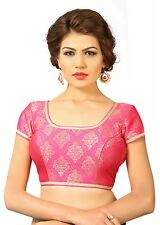 Saris and Things Pink Brocade Fancy Back Open Saree Blouse Choli