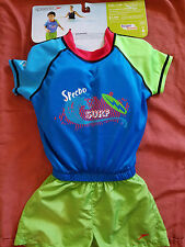 Speedo Kids UV 2 Pc Flotation Suit  M/L Ages 1 to 4 Blue Green NWT