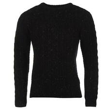 MENS NAVY FIRETRAP JUMPER WINTER CABLE KNIT CREW NECK LONG SLEEVE WARM TOP