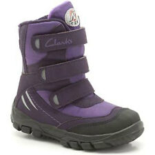 Clarks SNOW DAY Girls Purple Water Resistant TEX Snow Boots 7 - 5 Jun F Fit BNIB
