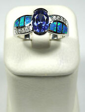 TANZANITE & BLUE FIRE OPAL INLAY 925 STERLING SILVER RING SIZE 6,7,8