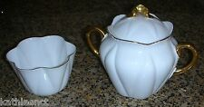 Shelley REGENCY Dainty White Full Size Sugar Bowl W/ Lid & Open Sugar Gold Trim