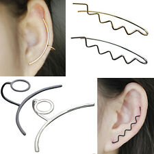 1 Pcs Vintage Wave Arc-shaped Linear Clip-on Ear Cuff Earring Ear Clip Engaging