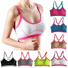 Women Sports Bra Seamless Racerback Fitness Yoga Workout Tank Tops Padded Bras