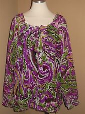Point of View Womens Plus Size Purple Semi Sheer 3/4 Sleeve Blouse Top 14 16 18