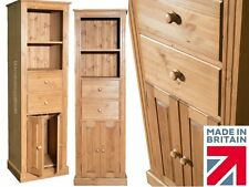 Solid Pine Bookcase, 180cm Adjustable Display Shelving Unit with Doors & Drawers